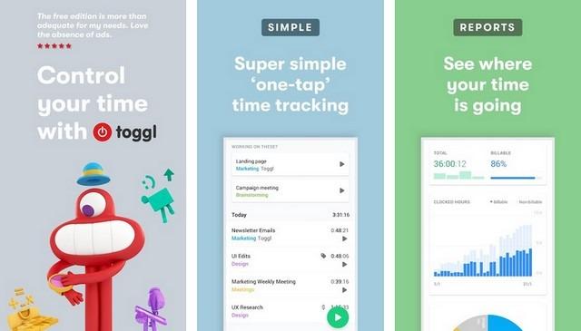 Toggl - aplicación de oficina en casa